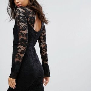 ASOS Black Lace High Neck Long Sleeve Dress